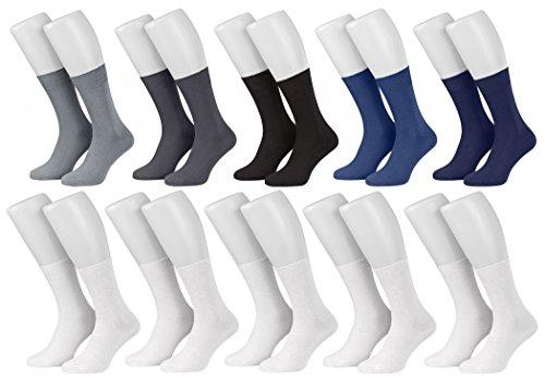 Tobeni 10 Paar Herrensocken Business Socken 100% Baumwolle Spitze ohne Naht Farbe 5x Farbig 5x Weiss Grösse 39-42
