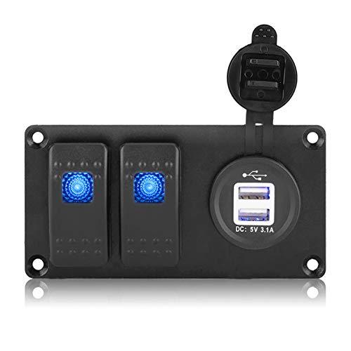 Panel de interruptores Aramox, panel de interruptores basculantes LED azul de 2 bandas 12-24 V con panel de interruptores de palanca de puerto USB dual de 3.1 A para coche, RV, barco marino