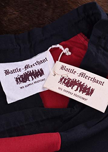 Mittelalterlicher Rock, weit ausgestellt aus schwerer Baumwolle Mittelalter LARP Wikinger Kostüm verschiedene Ausführungen (M, Schwarz/Rot) - 6