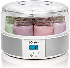 Euro Cuisine Yogurt Maker - YMX650 Automatic Digital Yogurt Maker Machine with Set Temperature - Includes 7-6 oz. Reusable Glass Jars and 7 Rotary Date Setting Lids for Instant Storage