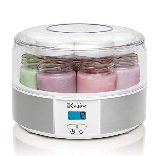 Euro Cuisine Yogurt Maker - YMX650 Automatic Digital Yogurt Maker Machine with Set Temperature - Includes 7-6 oz. Reusable Glass Jars and 7 Rotary...