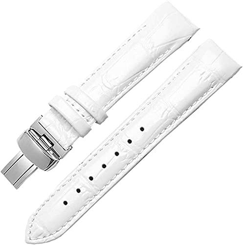 PINGZG Pulsera de Banda de Reloj de Cuero Genuino Correas Finales curvadas para Mujer 18 mm Pulsera de Moda Accesorios, cómodo Transpirable (Color : White, Size : 18mm)