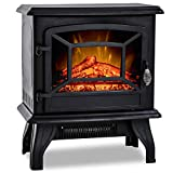 20'H Electric Fireplace Heater,Portable Freestanding Fireplace Stove Space Heater Thermostat CSA Approved Realistic Flame Logs Vintage Design,17' L x 10' W x 20' H Black