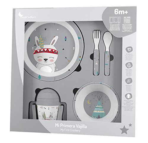 Vajilla Bebé 5 Piezas Apta para microondas + regalo de un babero...