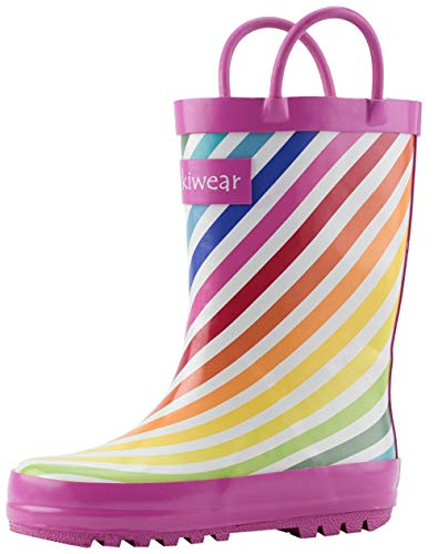 OAKI Kids Rubber Rain Boots with Easy-On Handles, Rainbow Stripes, 7T US Toddler