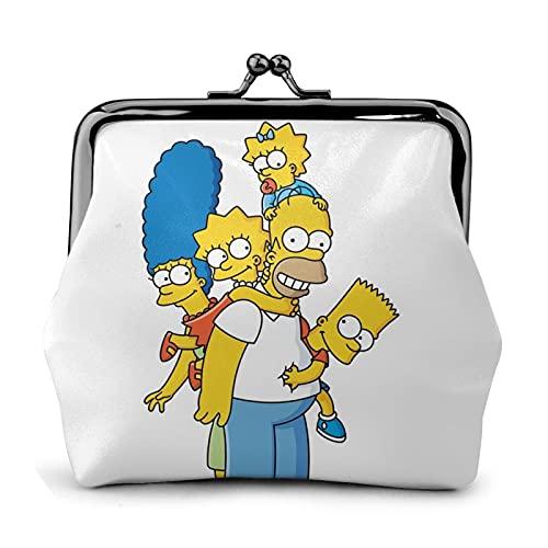 Simpsons Structure Lines Explosion Pop Monedero de cuero para mujer Kiss-Lock pequeño monedero embrague clave titular auriculares bolsa multifuncional bolsas
