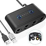 Gamecube Controller Adapter, Super Smash Bros 4 Port GameCube NGC Controller Adapter with Indicator Light, 3 in 1 GC Controller Adapter Nintendo Switch/Wii U/PC, for Windows / Vista/ Mac OS