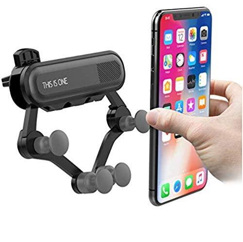 MUF Original This IS One Soporte Móvil para Coche Universal apto para todos los Smartphones, Antigolpes, Fácil de usar, para rejillas de ventilación, Abrazadera ajustable, 360°