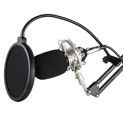 Micrófono en vivo, micrófono capacitivo, con soporte 700 Micrófono de capacitancia Micrófono de computadora para estudio en vivo