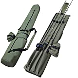Sougayilang Fishing Rod Bag Canvas Rod Case Organizer Pole Storage Bag Fishing Rod and Reel Carrier Organizer for Travel, Gift for Father, Boyfriend and Family
