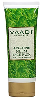 Organic Anti-Acne Neem/Azadirachta indica Face Pack with Clove & Turmeric- Fairness Mask - Acne-Prone cleansing - Anti-aging- Oil Control All Skin Type - Sulphate Free - 1 X 120 Gms from Vaadi Herbals Pvt. Ltd