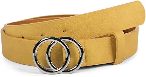 Cinturón de mujer amarillo con hebilla de anillo