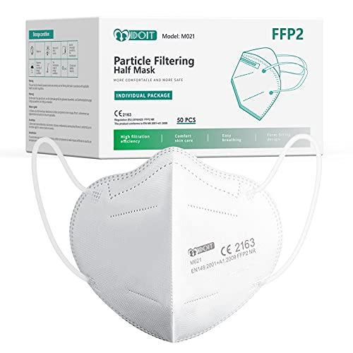 IDOIT Mascarillas FFP2 homologadas para adultos desechables 5 capas 50 pack según norma europea CE y EN 149:2001+A1:2009
