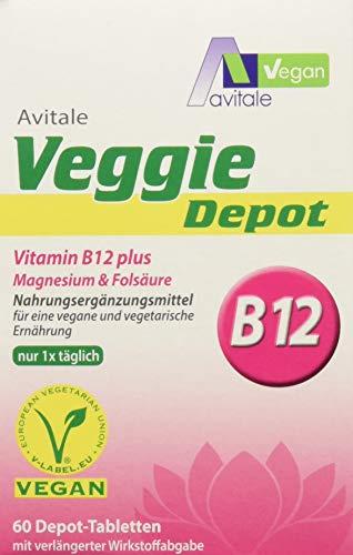 Avitale Veggie Depot Vitamin B12, Magnesium Plus Folsäure Tabletten, 1er Pack (1 x 60 Stück)
