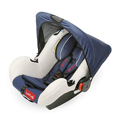 LuvLap 4-in-1 Infant/Baby Car Seat & Carry Cot with Canopy, 0 to 15 Months (Dark Blue)