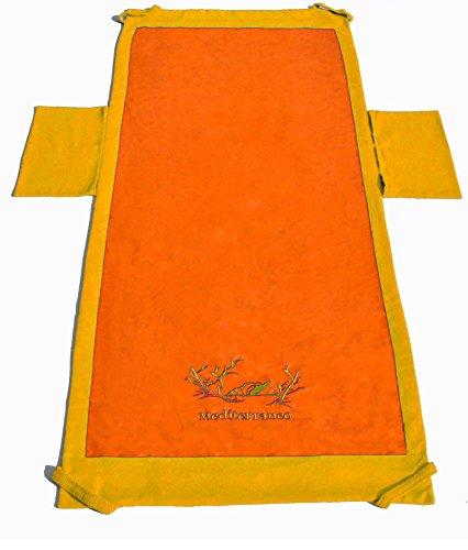 CASA TESSILE Telo Mare Lettino Ricamato con Tasche 70x190 cm - Arancio