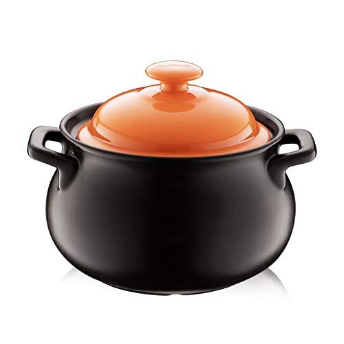 Olla acero Reparto de plato de aluminio Inducción-Segura antiadherente cacerola con tapa, Negro, 4 litros, Hogar resistente a altas temperaturas sopa de olla de cerámica Pot olla ( Color : 3L )