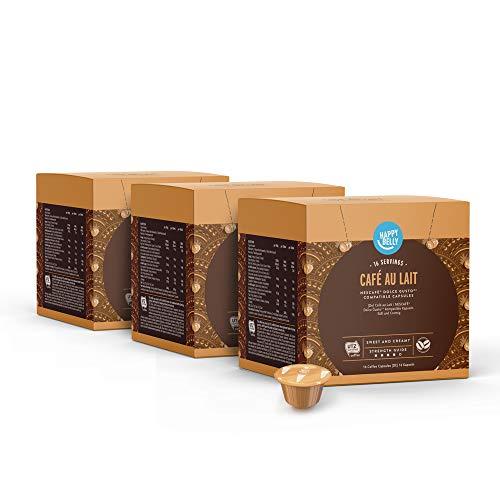 Marca Amazon - Happy Belly Cápsulas de Café Au Lait Compatibles con NESCAFÉ Dolce Gusto - 48 Porciones (3 Paquetes x 16 Cápsulas)
