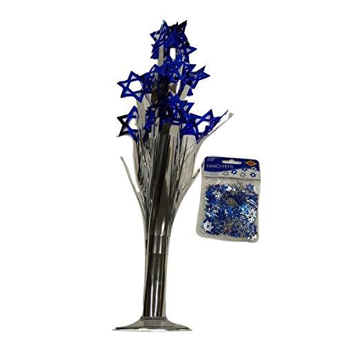 Hanukkah Table Decoration Set - Blue/Silver Star of David Foil Cascade Centerpiece with Confetti