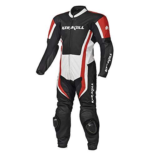 Traje de cuero perforado para motociclista, con protectores duros certificados CE, ideal para viajes largos de carretera, touring/pit bike