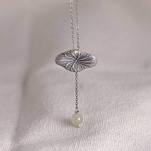 JNFGH Handmade Pendant Necklaces For Women,Chinese Style Lotus Leaf Jade Tassel Pendant 925 Sterling Silver Jewelry For Ladies Girls Weddings Proms Birthday Party Other Special Occasions Gifts
