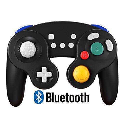 EXLENE Wireless Controller Gamepad für Nintendo Switch, Wiederaufladbar, Kompatibel mit PC/PS3, GameCube Stil, Motion controls, Rumble, Turbo (Schwarz)
