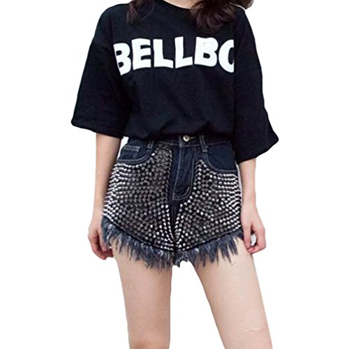 Xinwcanga Mujer Cintura Alta Agujeros Rasgados Asimetría Remaches Denim Short Pantalon Denim Shorts Clubwear (Negro, S) (Ropa)
