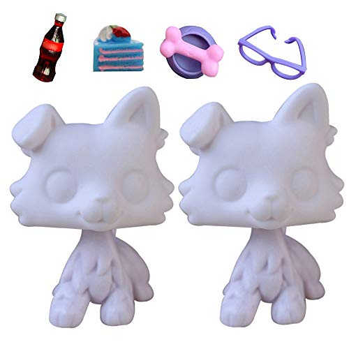 Judylovelps 2pcs Custom Collie White Molds, OOAK Collie White Bases DIY Figures with Accessories for Kids