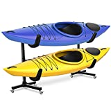 RaxGo Freestanding Kayak Rack with Wheels, Storage for Two-Kayak, SUP, Canoe & Paddleboard for Indoor, Outdoor, Garage, Shed, or Dock, Adjustable Height