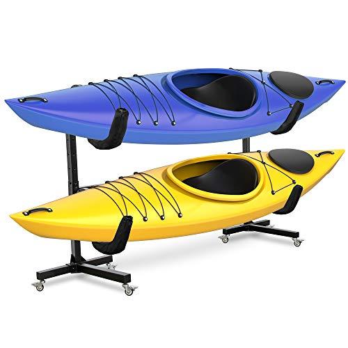 RaxGo Freestanding Kayak Rack with Wheels, Storage for Two-Kayak, SUP, Canoe & Paddleboard for...