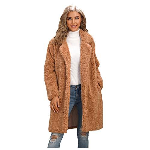 Women's Fuzzy Fleece Lapel Long Cardigan,Solid Color Faux Fur Open Front Coat Warm Winter Outwear