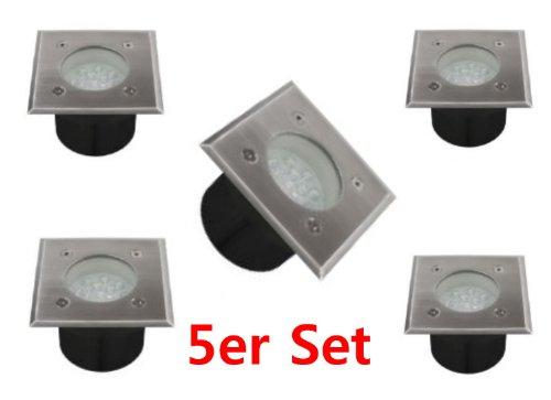 Lot de 5 spots LED encastrables au sol carrés 1 W 14 LED avec boîte de montage pour l'intérieur et l'extérieur IP54