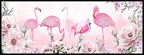 5D DIY Diamond Painting Kits Square Full Drill Set Adults Kids Flamingo Flowers Diamond Arts Crystal Rhinestone Embroidery Painting Pictures Cross Stitch Canvas Craft Home Wall Decor 40x80cm 16x32in