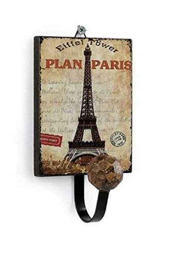 Retro Vintage Creative Wall Mount Hanger Iron Rack Hat Bag Hanger Hook Home Bathroom Decor (Paris Eiffel Towel)