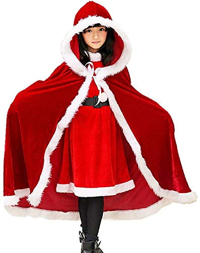 WANNISHA Girls' Red Velvet Hooded Cape Christmas Santa Claus Cloak Xmas Costume - 39'