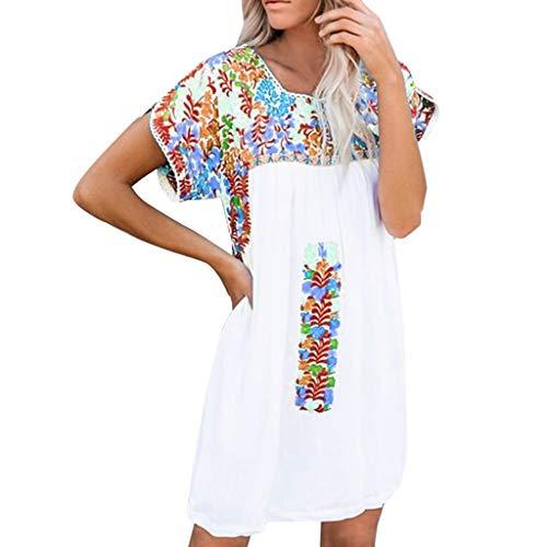 Böhmisches Kleid Rundhals Kurzarm bedrucktes Kleid Mode Damen Sommerkleid lässig Mini Strandkleid Sonojie