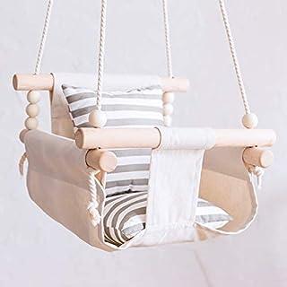 秋千 吊床椅 婴儿座椅 安全帆布 室内外兼用 吊床 悬挂 防掉落 折叠式 新生儿 生日 礼物 游具 幼儿用 0-3岁儿童 点击 米色进行