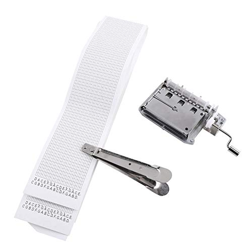 Kit de caja de música DIY, Bewinner 30-Note Tape Manivela manual Caja de música Movimiento + Perforador + 3 tiras de cinta en blanco DIY hace que su kit de herramientas de música