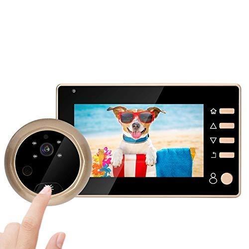 Mirillas Digitales para Puertas, Cámara de Timbre Inalámbrico, Visor de Mirilla con Pantalla LCD de 4.3 Pulgadas + cámara HD de 1 MP + ángulo Amplio de 150 ° + Visión Nocturna por Infrarrojos