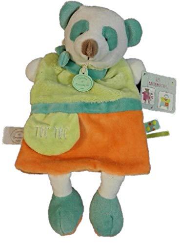 Doudou et Compagnie - Peluches et Doudous - Doudou marionnette panda - Collection : Petit Secret - Peluche bébé 25 cm - étiquette Toc Toc - Vert, orange et bleu - Genre : bébé fille ou garçon
