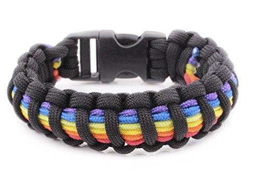Black 6 Stripe Rainbow Snap Clasp Paracord Bracelet - Gay Pride Bracelet - LGBT Lesbian Pride Wristband (Black and Rainbow)