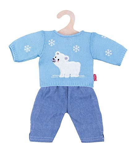 Heless 2934 - Bekleidungsset für Puppen, 2 teilig mit Strickpullover und Jeans, Größe 35 - 45 cm