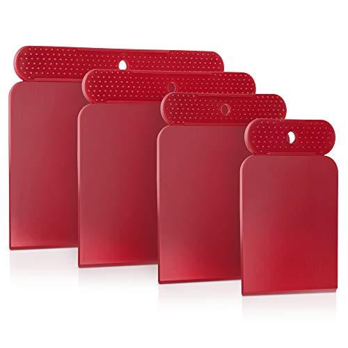 PETITONE Japanspachtel Kunststoff || 4-teiliges Premium Spachtel-Set | Leicht zu reinigender Spachtel | Kunststoffspachtel | Extra große Griffnoppen | Teigschaber | Besonders Präzise 45°-Kante