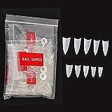NiceMeet 500 Piezas Corto Puntas de Uñas Postizas de Stiletto de Natural - Artificial de Acrílico de Falso Uñas Clavo Para Familia de Bricolaje o Uso Profesional del Salón - Flase Nails