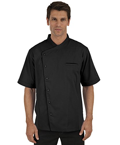 Men's Short Sleeve Chef Coat with Mesh Sides (XS-3X, 2 Colors) (Small, Black)
