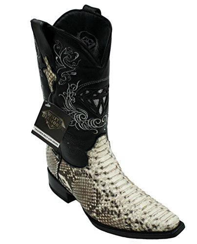 Men's Snip Toe Genuine Python Skin Leather Cowboy Square Toe Western Boots_Natural_11.5