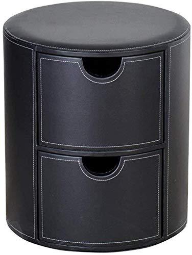PanYFDD Reposapiés redondo con 2 cajas cambiadoras para zapatos, asiento tapizado en piel sintética, taburete de maquillaje con cojín para pasillo sala de estar en negro máx. 150 kg
