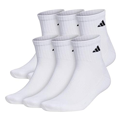 adidas Men s Athletic Cushioned Quarter Sock (6-Pair), White Black, Large, (Shoe Size 6-12)