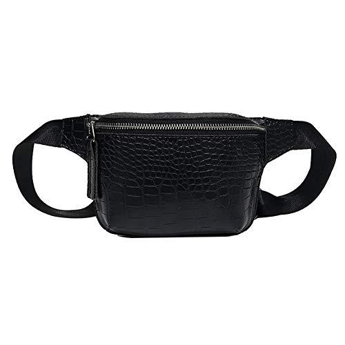 SoonerQuicker Gürteltasche wasserdichte Frauen einfache Hüfttasche kleine quadratische Tasche vielseitige Schultertasche Messenger Bag Brusttasche (schwarz)