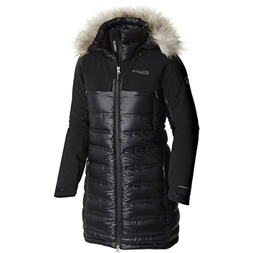 Columbia Women's Heatzone 1000 TurboDown Long Hooded Parka Jacket, Black, L